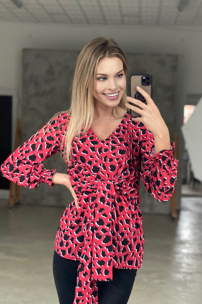 Wrap over Top in Red Leopard Print - jqwholesale.com