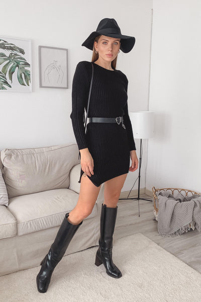 Black Knitted dress with Side Zip - jqwholesale.com