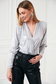 Wrap over Bodysuit/Top in Metallic Ivory Colour - jqwholesale.com