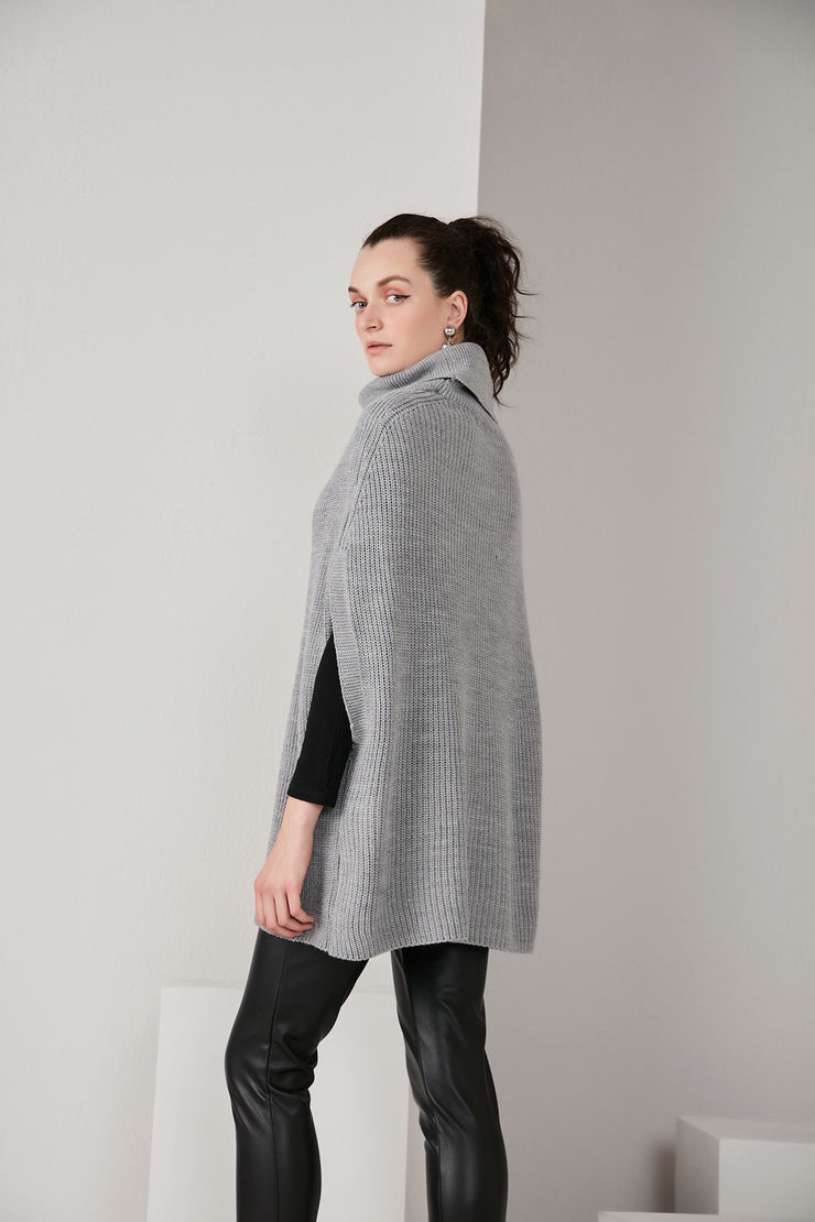 High Neck Knitted Pancho in Grey colour - jqwholesale.com