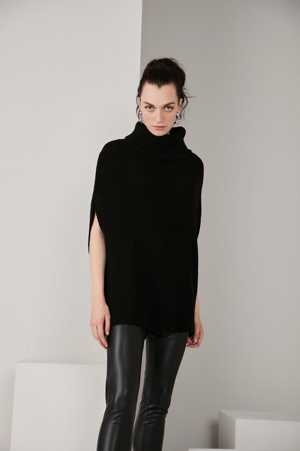 High Neck Knitted Pancho in Black colour - jqwholesale.com