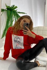 Oversize Sweatshirt / Top with print in Red colour - jqwholesale.com
