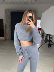 Knitted Loungewear Co Ord Set in Black - jqwholesale.com