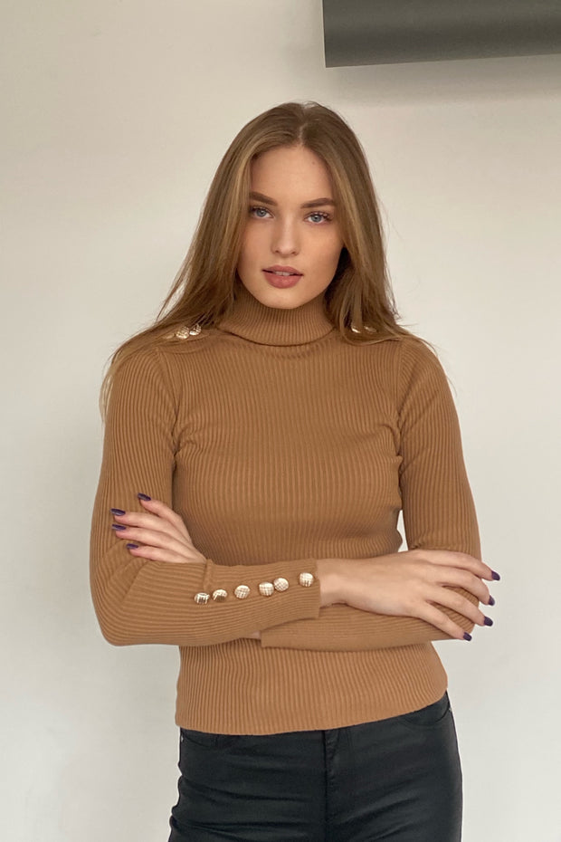High Neck Ribbed Jumper with Buttons in Ecru - jqwholesale.com