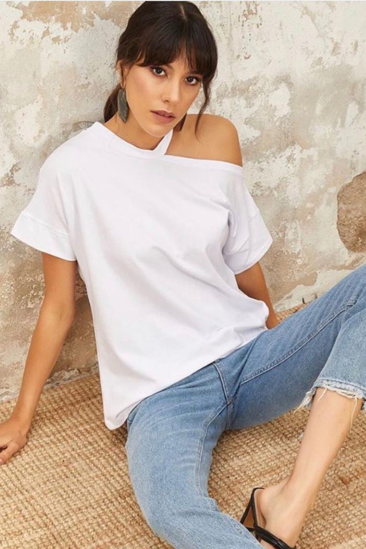One Shoulder Oversize Summer White Top - jqwholesale.com