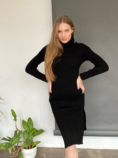 Black High Neck Knitted Midi Dress with side slits - jqwholesale.com