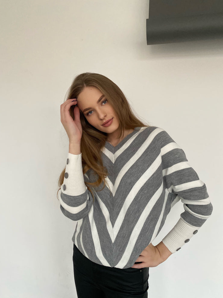 Off Shoulders Striped Knitted Sweater with Buttons in Grey - jqwholesale.com