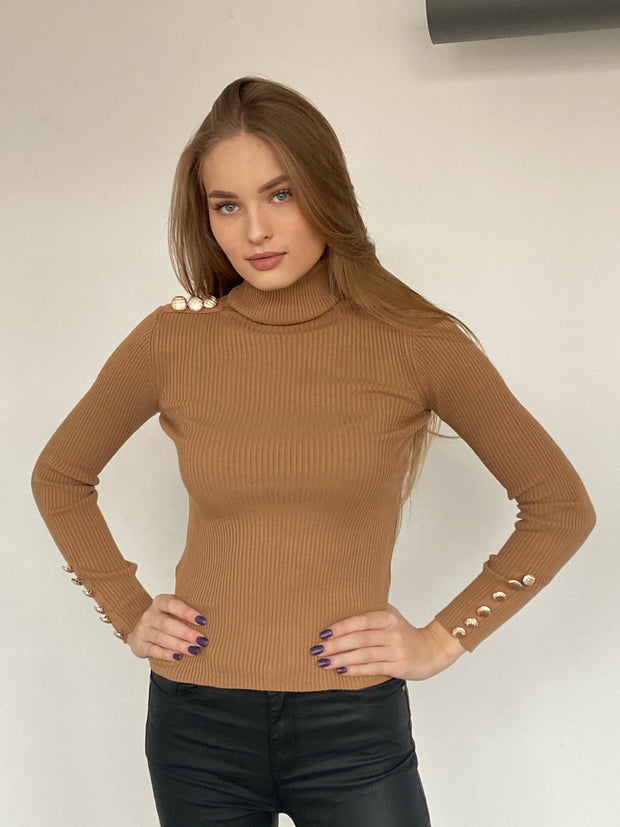 High Neck Ribbed Jumper with Buttons in Camel - jqwholesale.com
