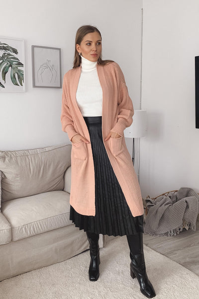 Longline Knitted cardigan with pockets in Pink - jqwholesale.com