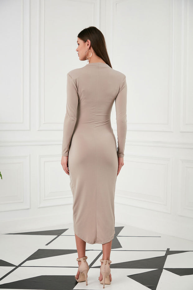 Wrap Midi dress in Nude colour - jqwholesale.com