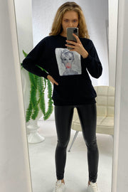 Oversize Sweatshirt / Top with print in Black colour - jqwholesale.com
