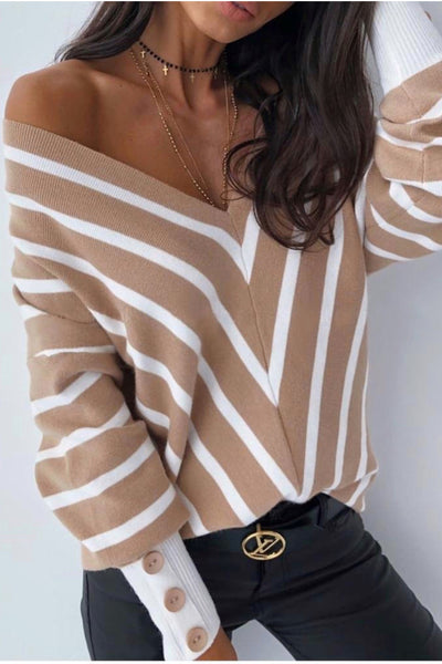 Off Shoulders Striped Knitted Sweater with Buttons - jqwholesale.com