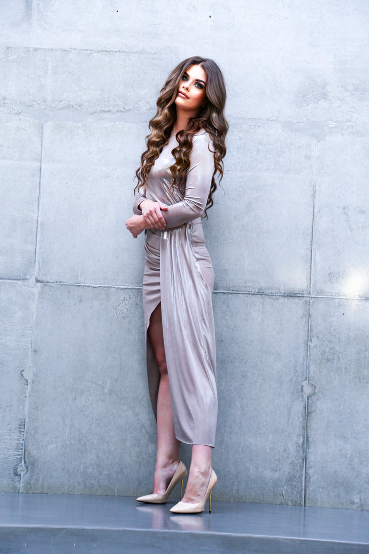 Occasion Maxi Dress with front slit in Metallic Cappuccino colour - jqwholesale.com