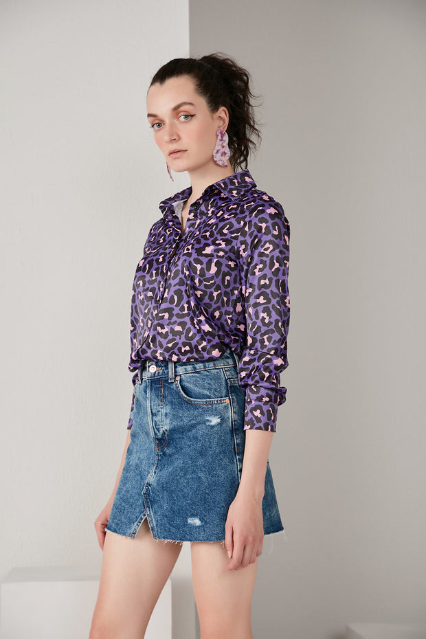 Oversize Top/Shirt in Purple Leopard print - jqwholesale.com