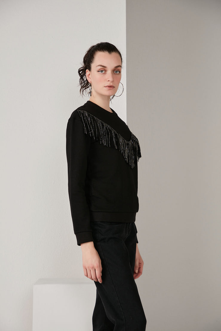 Black Sweatshirt with Shiny Fringe - jqwholesale.com