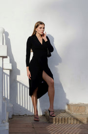Wrap Midi dress with front Slit in Black colour - jqwholesale.com