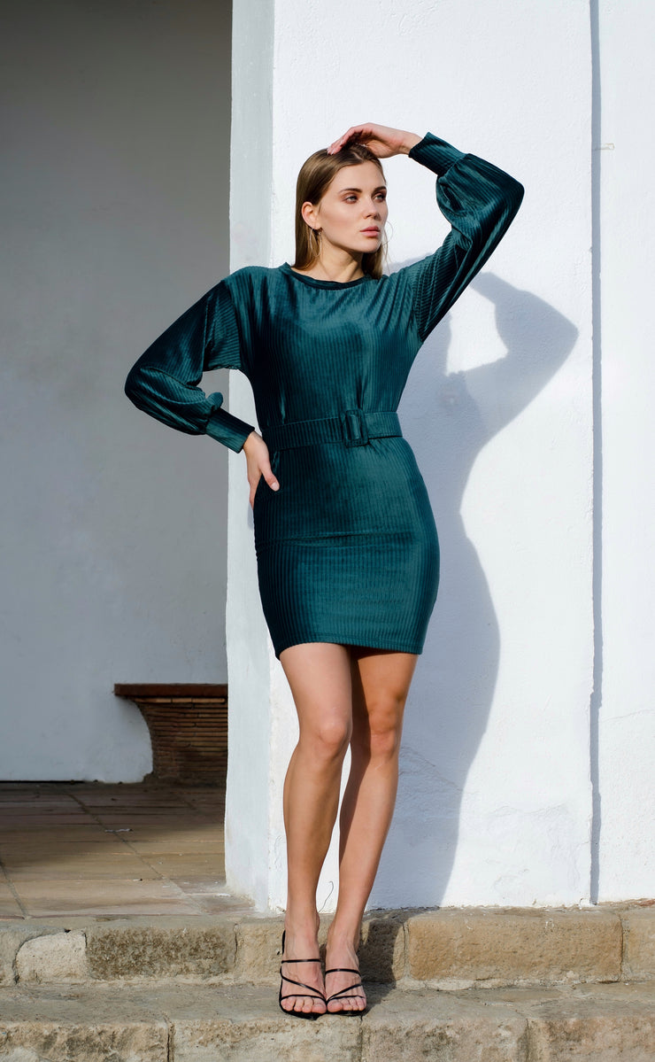 Wrap Mini Velvet Dress in Green Colour - jqwholesale.com