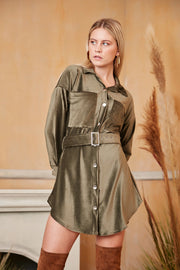 Wrap Mini  Shirt Dress in Khaki Colour - jqwholesale.com