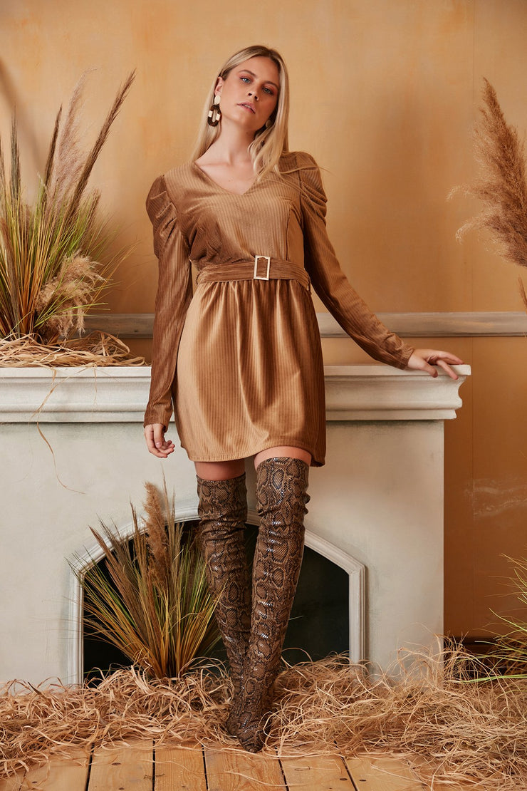 Wrap Mini Dress in Beige/Brown Colour with Balloon Shoulders - jqwholesale.com