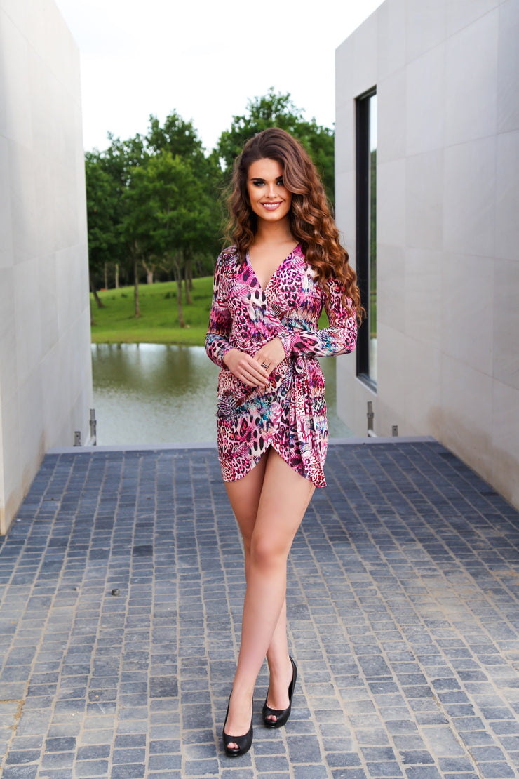 Summer Wrap Mini dress in Pink Leopard Print - jqwholesale.com