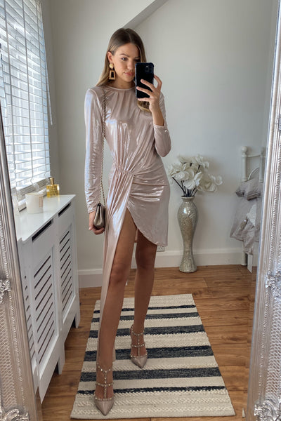 Long sleeve metallic Maxi dress - jqwholesale.com