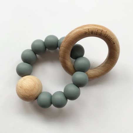 Teether - Wood & Silicone - Charcoal