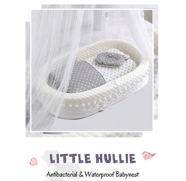 Little Hullie Baby Nest (Antibacterial & Waterproof) [ Comes with Mattress, Pillow and Blanket]