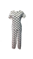 Pajama Set Female (Free Size) - White Checkered Pattern 2 #PSF007