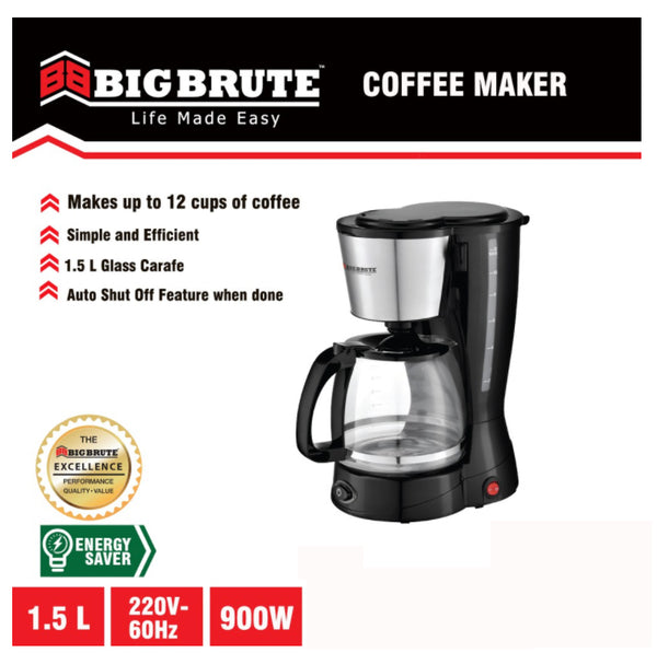 Big Brute Coffee Maker 12 cups Stainless Body Glass Carafe