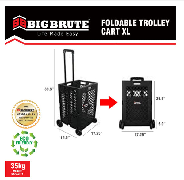 Big Brute Foldable Trolley Cart Shopping Cart XL 35 Kg. Capacity ( BLACK )