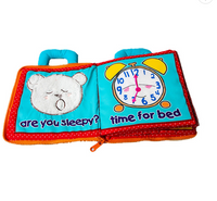 My Quiet Book Activity and Educational Cloth Book for Baby: Bear Baby Night (with Plush Bear)