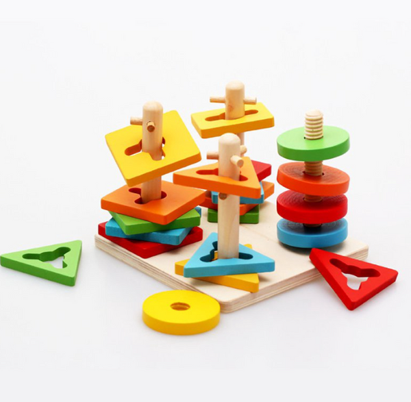 Four-column Set Intelligence Geometric Puzzle Building blocks Wooden Toy