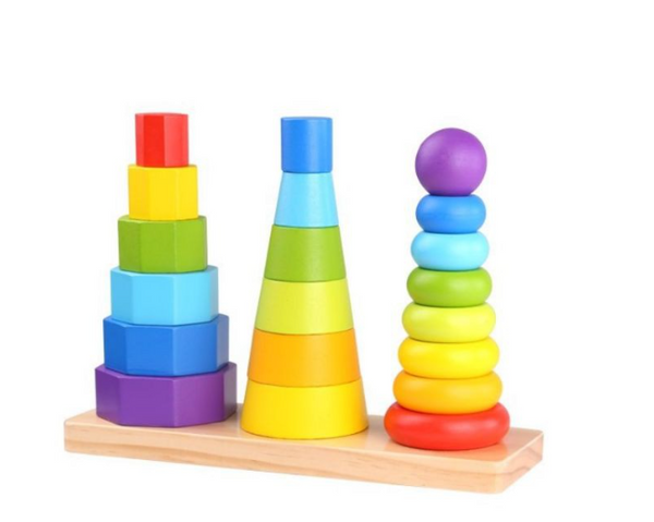 3 in 1 SHAPE TOWER WOODEN TOY Set of Pillars wooden toy