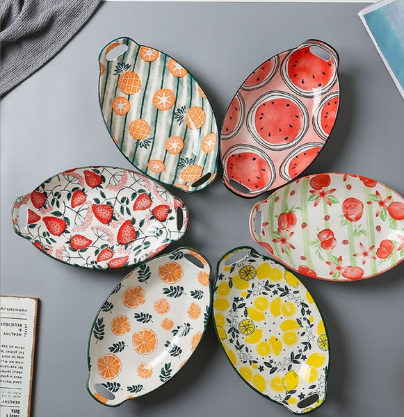 FUN and fruity Lemon-shaped trays with side handles Affordable High Quality Bone China Ceramic Style Piece Pattern Luxury Tableware