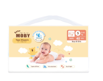 Baby Moby Chlorine Free Tape Diapers (Small Size 3-6kgs) - 40 pcs
