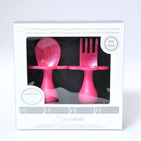Grabease Self Feeding Spoon and Fork Set - Pink