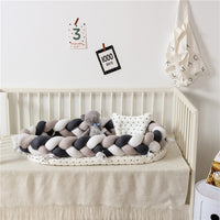 Double Braided Baby Nest Style with Mattress, Bumper and Pillow- Sweet Peach