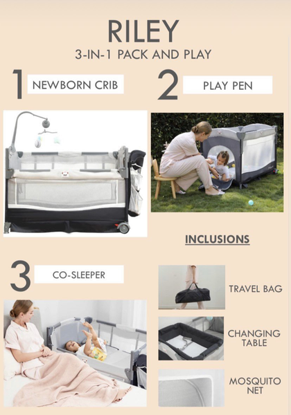 Riley 3 in 1 Convertible Pack and Play (frame+mattress)