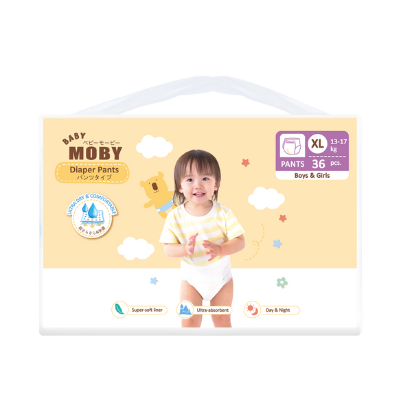 Baby Moby Chlorine Free XL Diaper Pants (Extra Large Size 13-17kgs) - 36 pcs