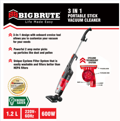 Big Brute Bagless Vacuum Cleaner 600W