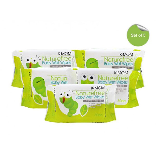 K-Mom Caterpillar Basic Baby Wipes 30s - BUNDLE OF 5