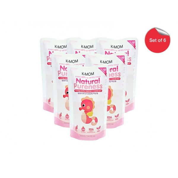 K-Mom Natural Pureness Bottle Cleanser 500ml refill - BUNDLE of 6