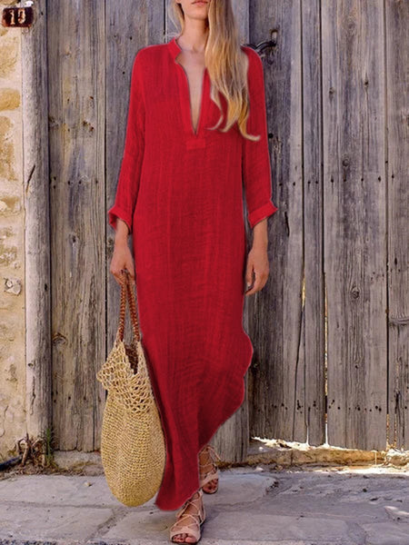 Womens Holiday Loose Deep V-Neck Cotton Leisure Long-sleeve Long Dress