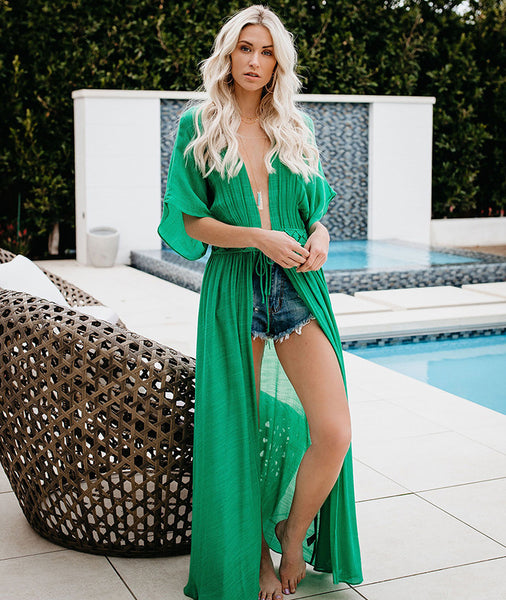 Vacation Sexy Perspective Tie Beach Resort Blouse Long Dresses