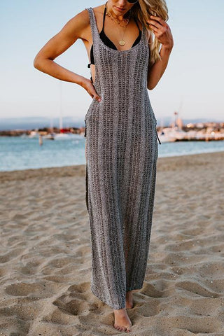 Side Slit U Neck Cover Maxi Dress