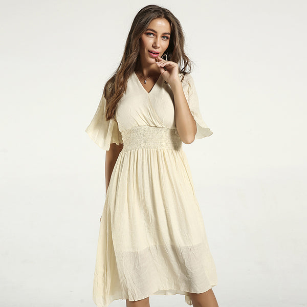 Summer Slim V-neck Solid Temperament Short Sleeve Dresses