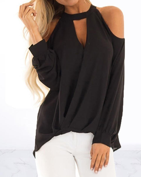 Cold Shoulder Cut Out Chiffon Blouse