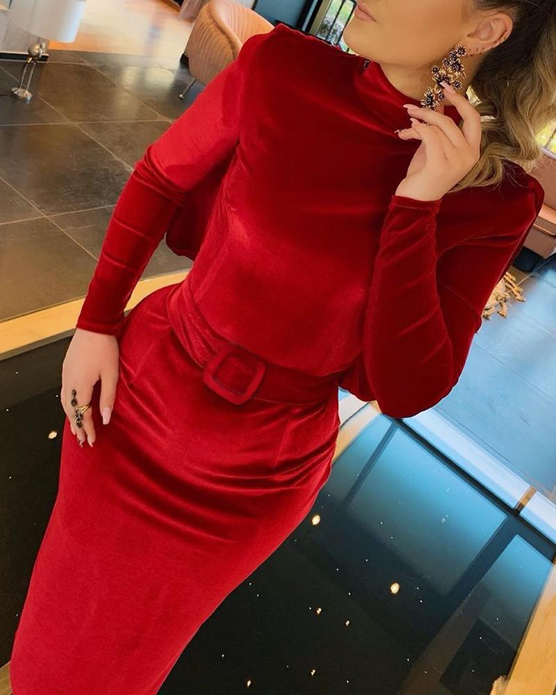 Mock Neck Cut Out Back Tight Waist Dress