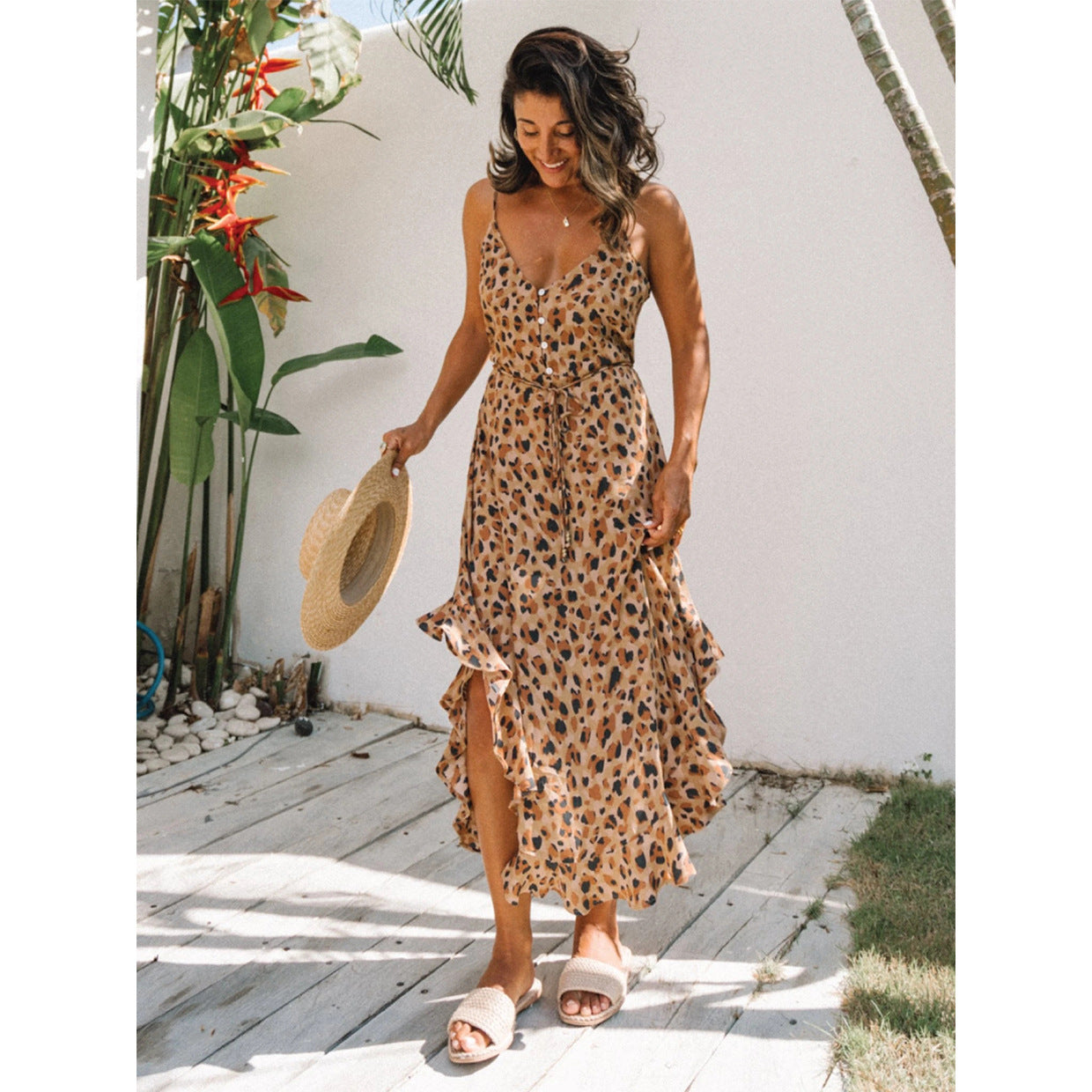 Leopard Print Single-row Buckle Flounced Halter Dresses