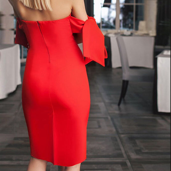 Autumn Winter Sexy Strapless Stitching Bodycon Evening Dresses